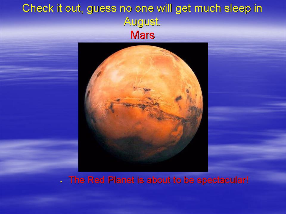 Title slide of mars opposition presentation from 2003 no mention of